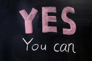 "Chalk drawing - ""YES you can"" written on chalkboard"