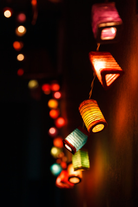 Christmas light background with copy space