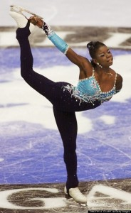 LAKE PLACID, : Surya Bonaly of France performs her gold medal winning program during the Artistic performance at the Olympic Center 19 February 2000 figure skating competition at the 2000 Winter Goodwill Games in Lake Placid, New York. AFP PHOTO Timothy A. Clary (Photo credit should read TIMOTHY A. CLARY/AFP/Getty Images)