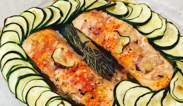 Recette Light : Saumon en couronne de courgette