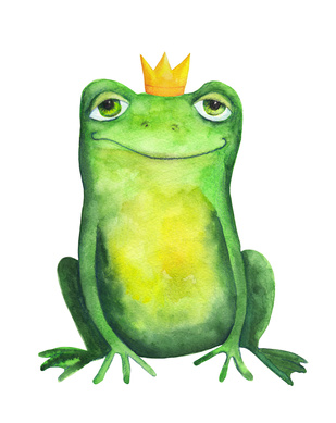 Frog in crown. Watercolor